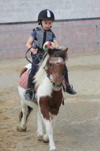 enfant sur poney à l'école d'équitation Equival Valréas